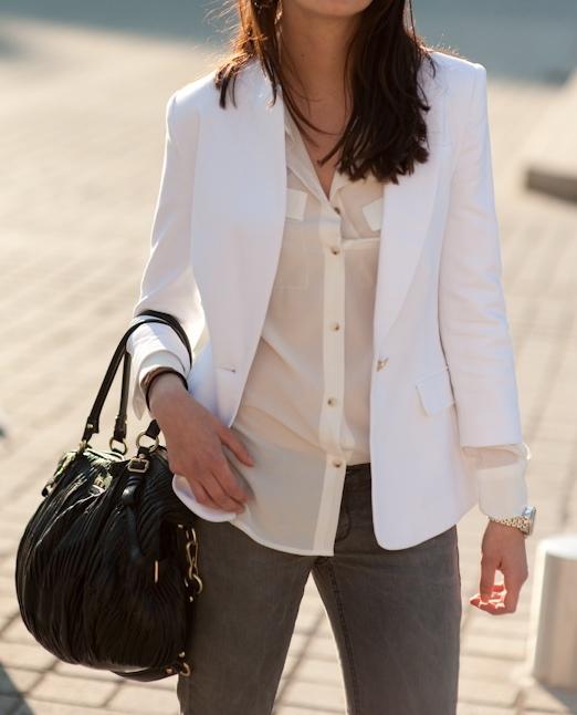 zara,veste blazer blanche